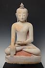 16th-17th Century, Shan, Burmese Alabaster Seated Buddha