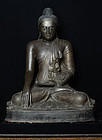 Early 19th C., Large Burmese Bronze Seated Buddha