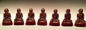19th C., A Set of Burmese Wooden Seated Disciples