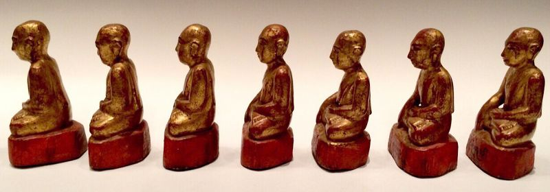 19th Century, Mandalay, A Set of Burmese Wooden Seated Disciples