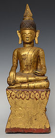 19th Century, Rare Burmese Tai Lue Wooden Seated Buddha