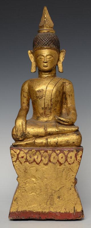 19th Century, Rare Tai Lue Burmese Wooden Seated Buddha