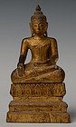 19th Century, Lanna Thai Wooden Seated Buddha