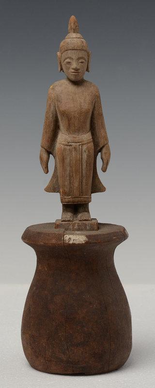 19th Century, Laos Wooden Standing Buddha