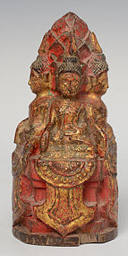 19th C., Lanna Thai Wooden of Five Seated Buddhas