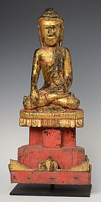 19th Century, Tai Yai, Burmese Wooden Seated Buddha
