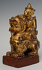 Early 20th C., Burmese Wooden Angel Riding on Lion