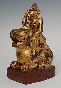 Early 20th C., Burmese Wooden Angel Riding on Tiger