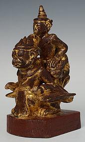 Early 20th Century, Burmese Wooden Angel Riding Garuda