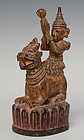 19th Century, Burmese Wooden Angel Riding on Lion