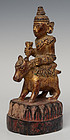 19th Century, Burmese Wooden Angel Riding on Cow