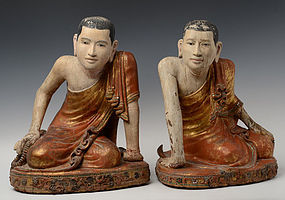 Early 19th C., A Pair of Burmese Wooden Seated Disciple