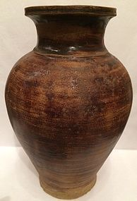 15th C., Sankampaeng Brown Glazed Pottery Jar