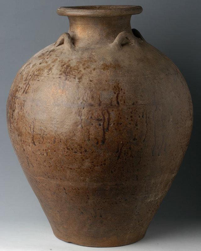14th-16th C., Sukhothai Pottery Brown Glazed Jar