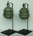 12th C., Angkor Vat, A Pair of Khmer Bronze Elephant Bells