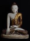 Early 19th Century, Large Burmese Alabaster Seated Buddha