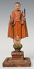 19th C., Mandalay, Burmese Wooden Standing Disciple