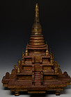 19th C., Mandalay, Burmese Wooden Pagoda with Gilded Gold