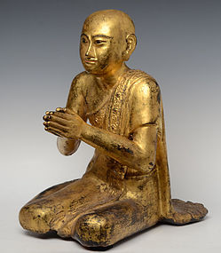 19th Century, Mandalay, Burmese Wooden Seated Disciple