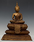19th C., Rattanakosin, Thai Bronze Seated Buddha with Gilded Gold
