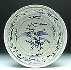 Hoi An Blue and White Serving Dish with Bird