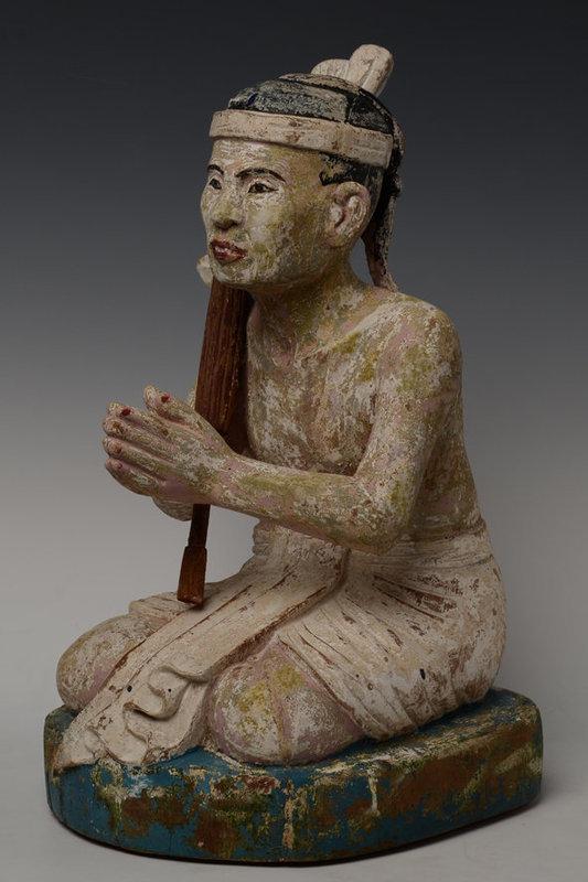 Late 19th Century, Burmese Wooden Seated Figure