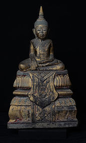 17th C., RARE Khmer Sandstone Seated Buddha