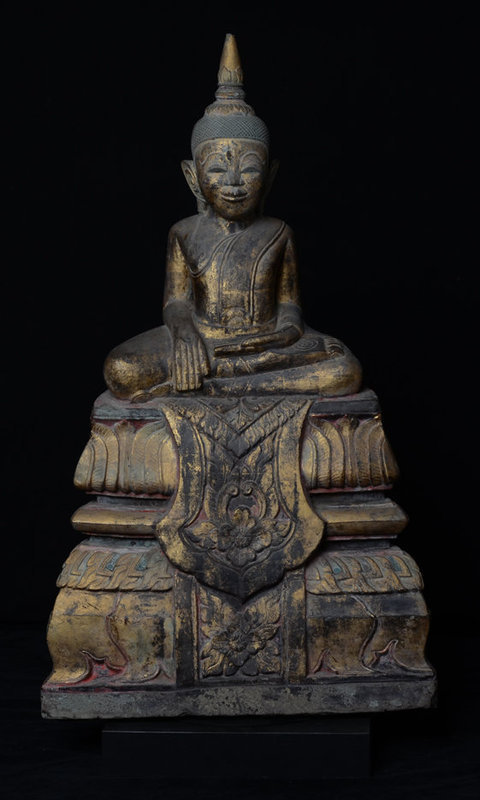 17th Century, RARE Khmer Sandstone Seated Buddha