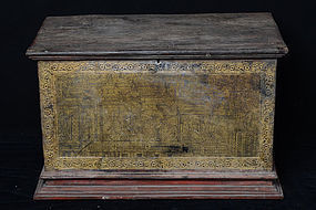 19th C., Burmese Wooden Chest with Gilded Gold