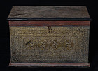 19th Century, Mandalay, Burmese Wooden Chest with Angels Design