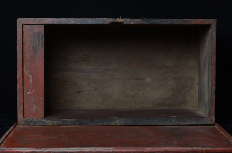 19th C., Burmese Wooden Chest with Angles Design