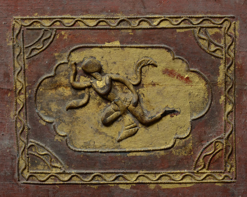 19th Century, Mandalay, Burmese Wooden Chest with Angles Design