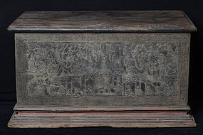 19th C., Mandalay, Burmese Wooden Chest with Lacquer Design