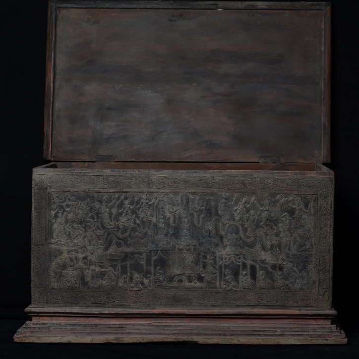 19th Century, Mandalay, Burmese Wooden Chest with Lacquer Design