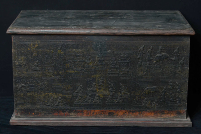 19th C., Burmese Wooden Chest with Lacquer Design