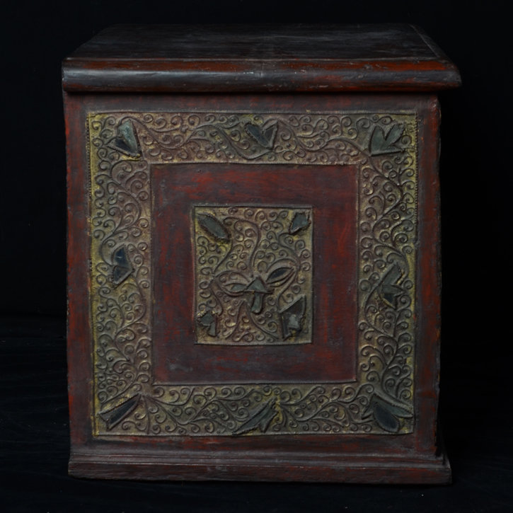 19th Century, Mandalay, Burmese Wooden Chest with Glass