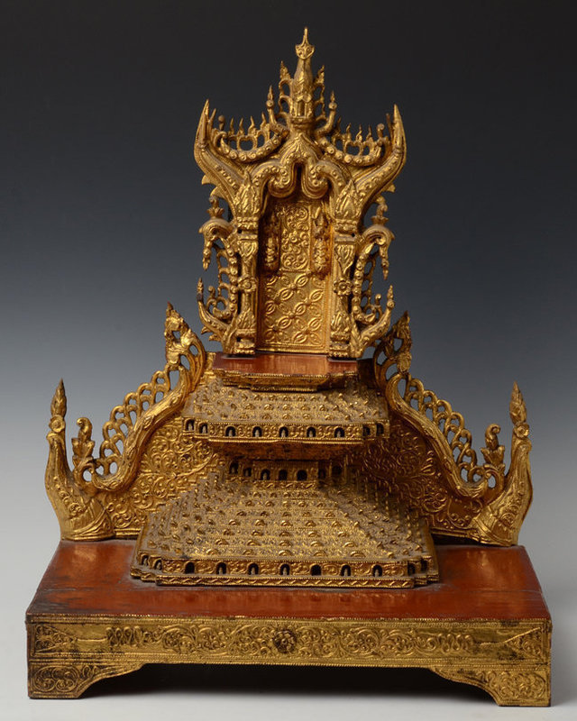 19th Century, Mandalay, Burmese Wooden Buddha's Throne