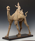 Tang Dynasty, Chinese Painted Pottery Camel and Rider with Oxford Test