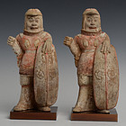 A Pair of Chinese Painted Pottery Warriors with Oxford Test