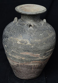16th C., Sukhothai, Large Thai Stoneware Water Jar