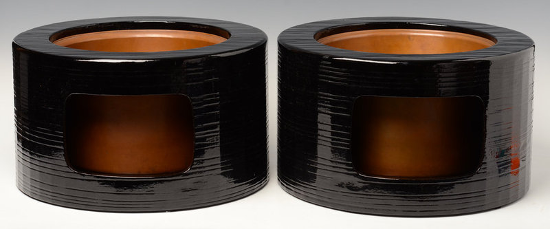 Early 20th C., A Pair of Japanese Keyaki Lacquered Hibachi Vessels