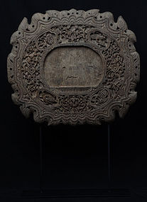 19th C., Mandalay, Burmese Wooden Mirror Frame with Floral Design