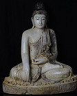 19th C., Mandalay, Large Burmese Alabaster Seated Buddha