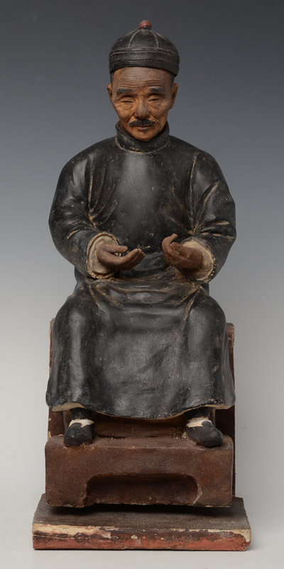 19th C., Qing Dynasty, Chinese Stucco Figure of The Old Man