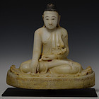 19th C., Mandalay Period, Burmese Alabaster Seated Buddha