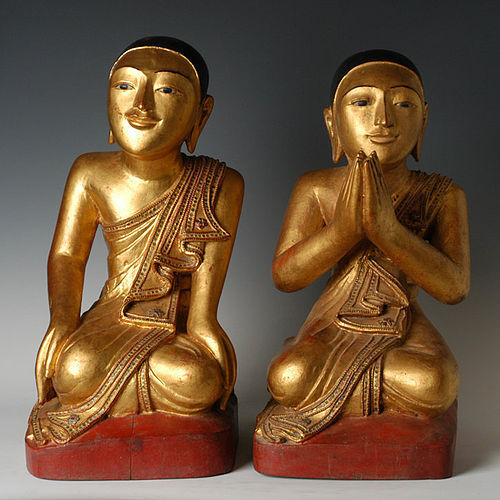 19th C., A Pair of Tai Yai Burmese Wooden Seated Disciples