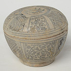 14th - 16th C., Sukhothai Stoneware Covered Bowl with Design