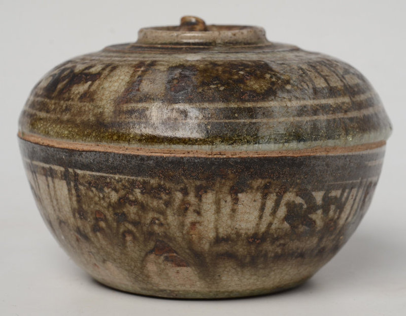 14th - 16th C., Sukhothai Stoneware Covered Bowl in The Fruit Shape
