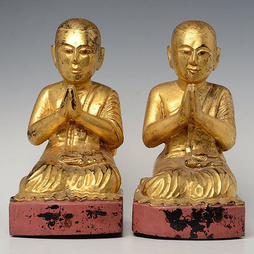 19th C., Mandalay, A Pair of Burmese Wooden Seated Disciples