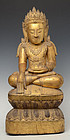 Early 15th C.,Early Ava, Burmese Wooden Seated Crowned Buddha